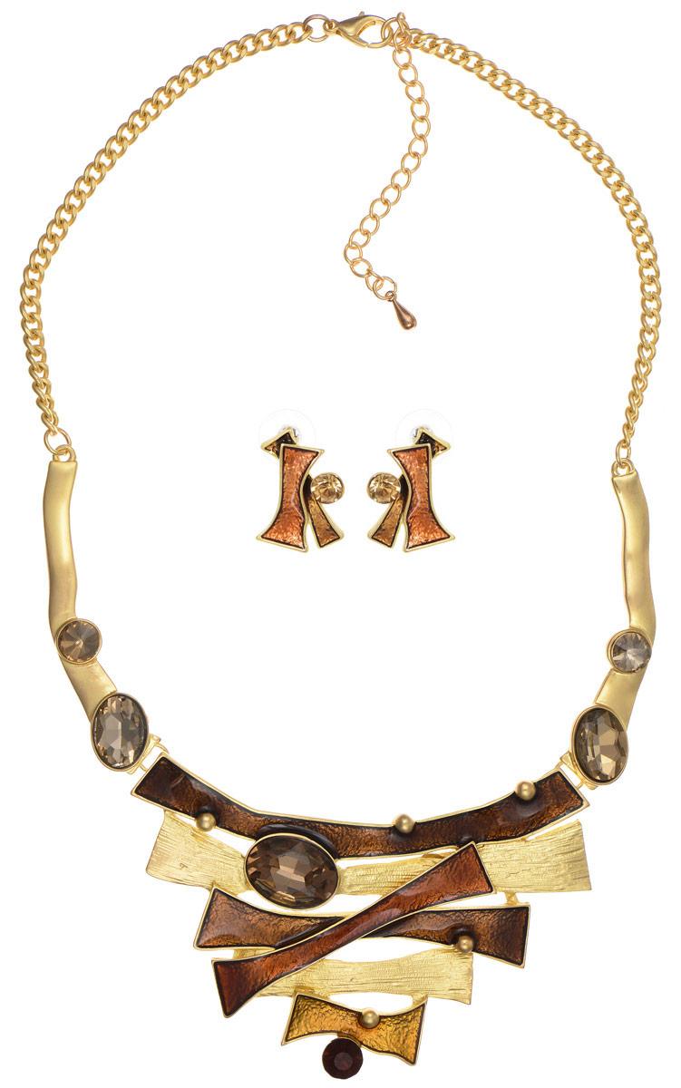 Комплект Art-Silver: колье, серьги, цвет: золотой, коричневый. КМП02-821