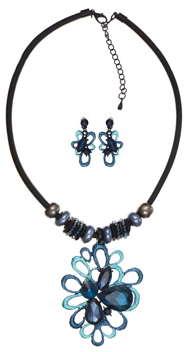 Комплект Art-Silver: колье, серьги, цвет: черный, темно-синий. КМП08-821