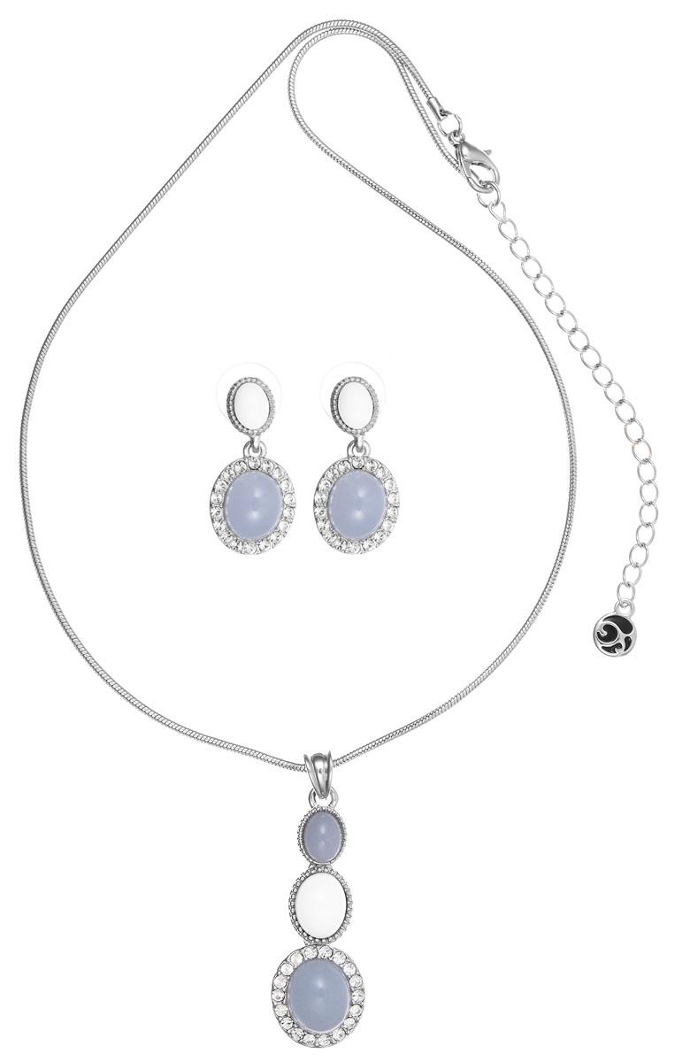 Комплект Art-Silver: колье, серьги, цвет: серебряный, белый. 0707М-1917