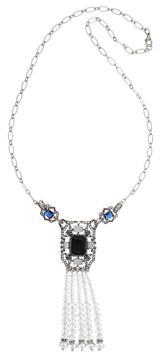 Колье Art-Silver, цвет: серебряный, синий. MS05362N-OS-A-2151MS05362N-OS-A-2151Стильное колье Art-Silver изготовлено из бижутерийного сплава. Колье представляет собой цепочку с крупными звеньями, которая дополнена массивной подвеской прямоугольной формы, низ которой выполнен из пять свисающих нитей с гранеными кристаллами разной формы. Колье дополнено элементами из пластика, разноцветными кристаллами и инкрустировано кубическим цирконием. Изделие застегивается на практичный замок-карабин. Колье Art-Silver поможет дополнить любой образ и привнести в него завершающий штрих.