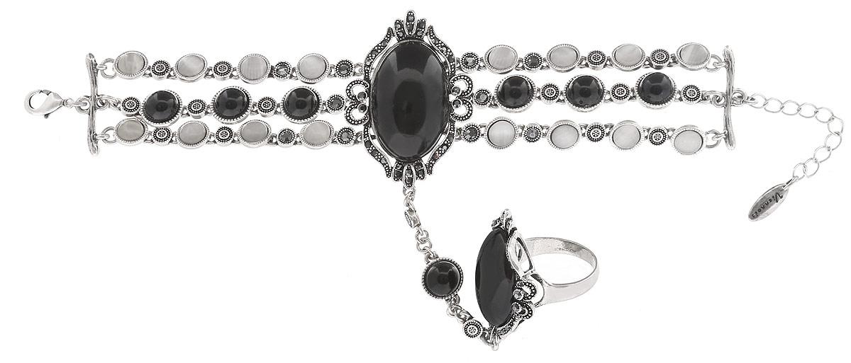 Комплект Art-Silver: браслет, кольцо, цвет: серебряный, черный. 065588-001-2873065588-001-2873Оригинальный комплект украшений Art-Silver включает в себя стильный браслет и кольцо. Украшения выполнены из бижутерного сплава. Браслет соединен с кольцом оригинальной цепочкой и образует единое украшение. Браслет представляет собой основу из трех цепочек, в центре соединенных массивным элементом с ажурной основой из металла и с вставкой из пластика, имитирующей натуральный камень. Элементы браслета украшены кошачьим глазом и дополнены цирконами. Изделие имеет надежную застежку-карабин с регулирующей длину цепочкой. Массивное кольцо дополнено вставкой из ювелирного пластика и украшено цирконами. Изящный комплект придаст вашему образу изюминку, подчеркнет красоту и изящество вечернего платья или преобразит повседневный наряд.