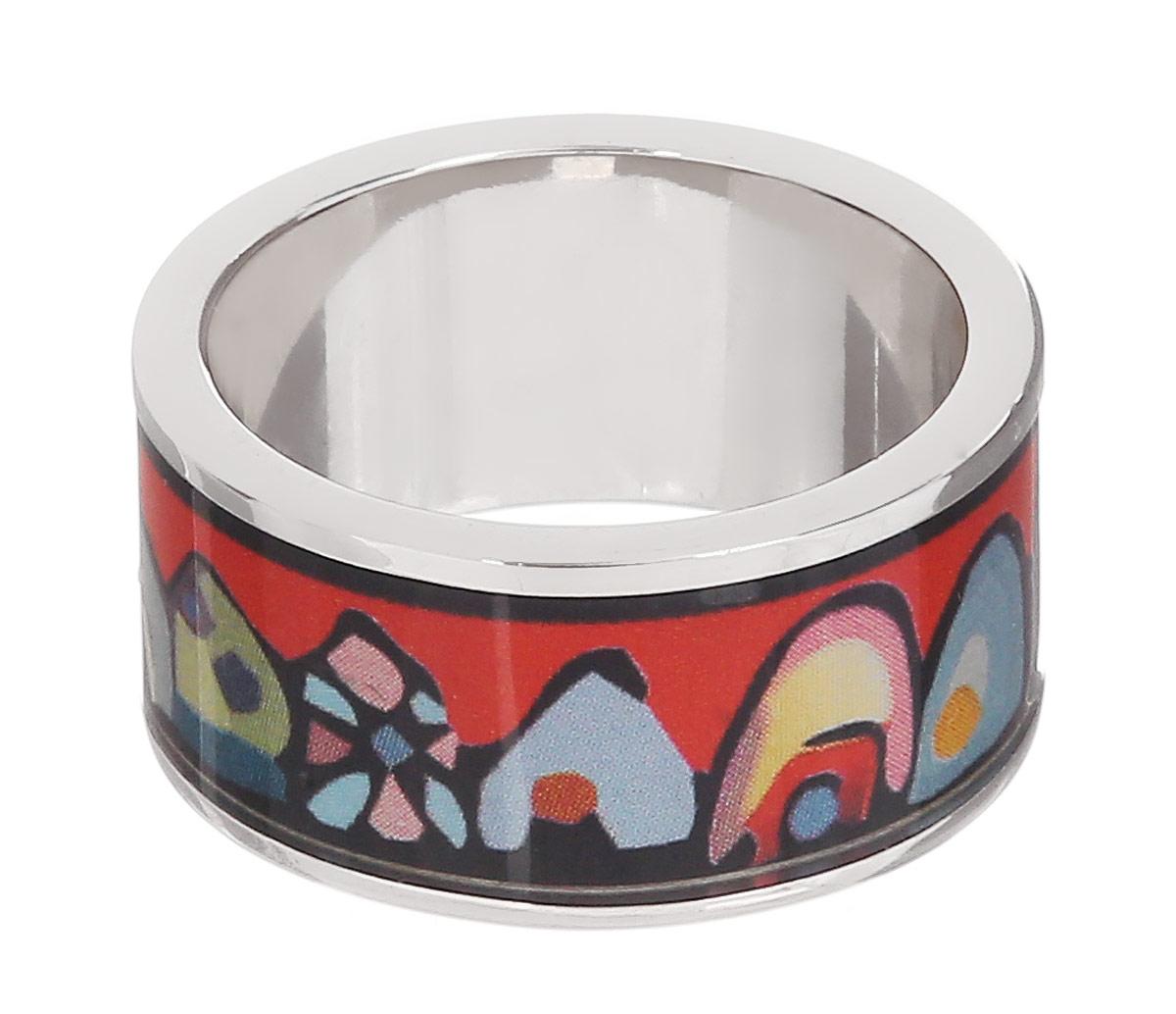 Кольцо Art-Silver, цвет: серебристый, красный, мультиколор. ФК107-1-320. Размер 18,5ФК107-1-320Великолепное кольцо Art-Silver изготовлено из бижутерного сплава. Изделие с покрытием из эмали оформлено изображением забавных домиков. Стильное кольцо придаст вашему образу изюминку и подчеркнет индивидуальность.