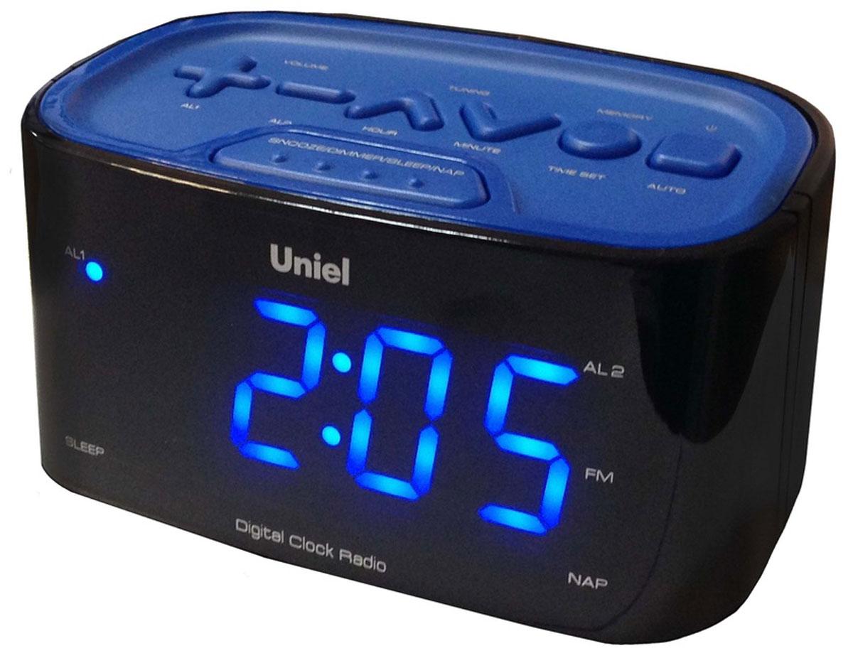 Uniel UTR-33BBK часы-будильникUTR-33BBKНастольные часы - будильник Uniel UTR-33BBK отлично подойдут ценителям минимализма: здесь нет ничего лишнего, только индикатор точного времени, будильник с возможностью отложить сигнал, радиоприемник и панель для настройки. Устройство работает от сети 220В, к которой подключается посредством адаптера. Компактные размеры Будильник с отложенным сигналом Удобная панель настройки Большие цифры