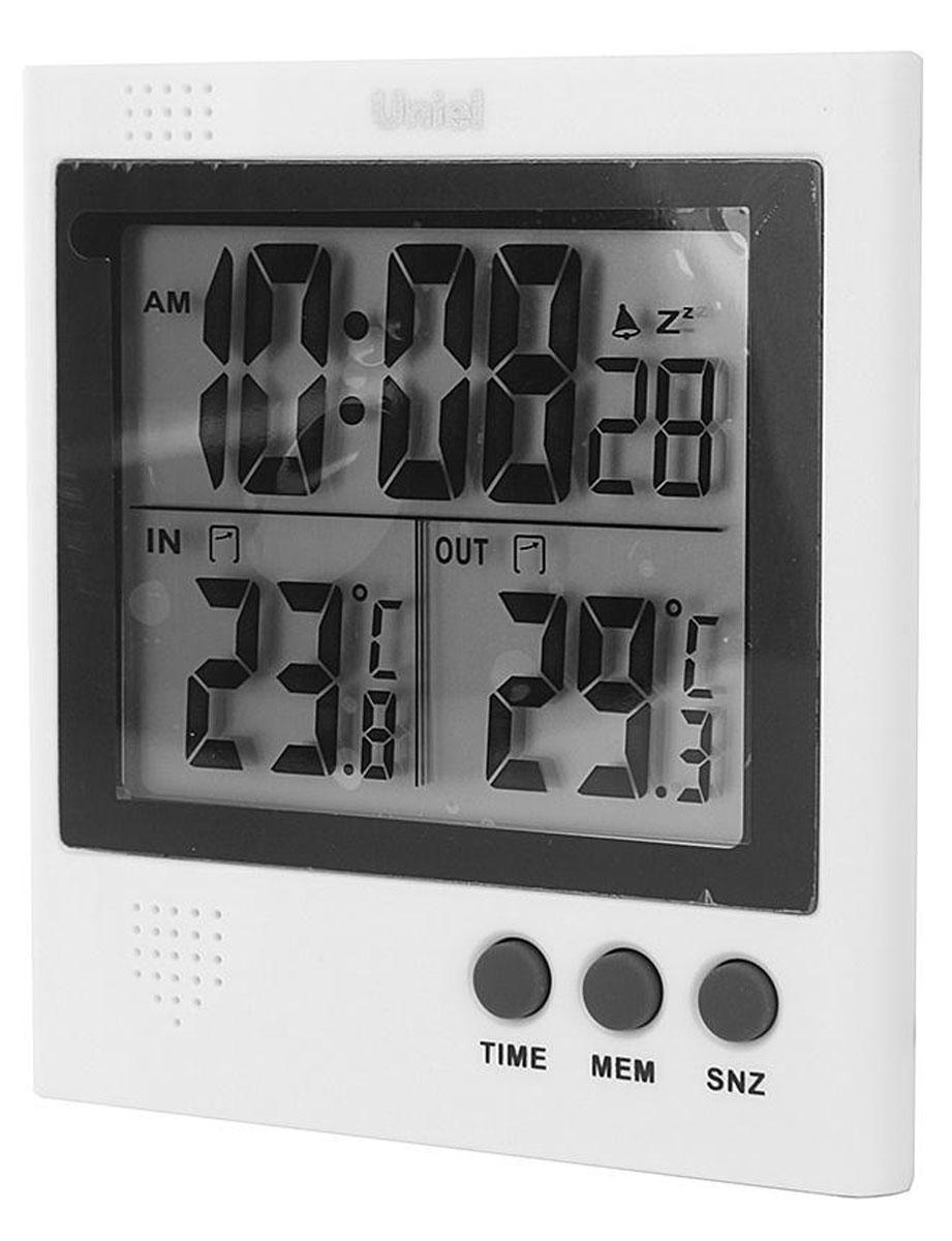 Uniel UTT-91 уличный термометрUTT-91Электронный термометр Uniel UTT-91 — небольшое устройство с сенсорным датчиком и возможностью установить будильник, которое станет решением в тех ситуациях, когда вам необходимо точно узнать температуру внутри или снаружи помещения. Минимальное и максимальное значение температурного показателя за сутки можно зафиксировать нажатием одной кнопки. Часы, формат 12/24 Измерение температуры внутри и снаружи, (минимальная, максимальная, за сутки) Определение минимальных и максимальных значений температур Индикатор образования наледи