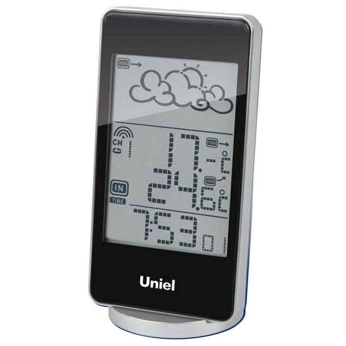 Uniel UTV-82K метеостанцияUTV-82KНастольная метеостанция Uniel UTV-82K в стильном компактном плоском корпусе – это еще одна разработка торговой марки Uniel. Жидкокристаллический дисплей устройства показывает прогноз погоды в виде анимации, также отображает температуру и на улице, и в комнате, местное время в формате 12/24. Помимо этого, гаджет оснащен будильником с тремя вариантами программирования. Компактные размеры Метеостанция с беспроводным датчиком Анимированный прогноз погоды Часы с форматом времени 12/24 3 варианта программирования будильника Календарь