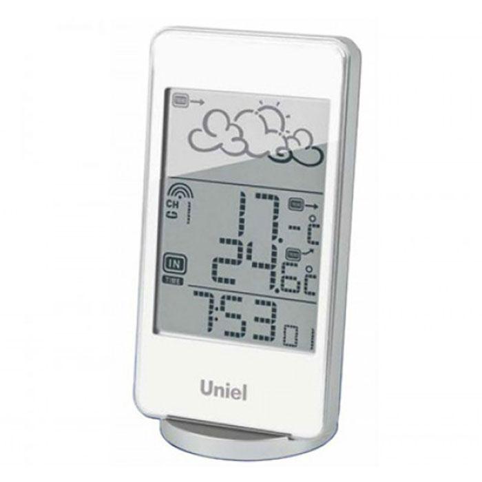 Uniel UTV-82W метеостанцияUTV-82WНастольная метеостанция Uniel UTV-82W в стильном компактном плоском корпусе - это еще одна разработка торговой марки Uniel. Жидкокристаллический дисплей устройства показывает прогноз погоды в виде анимации, также отображает температуру и на улице, и в комнате, местное время в формате 12/24. Помимо этого, гаджет оснащен будильником с тремя вариантами программирования. Компактные размеры Метеостанция с беспроводным датчиком Анимированный прогноз погоды Часы с форматом времени 12/24 3 варианта программирования будильника Календарь