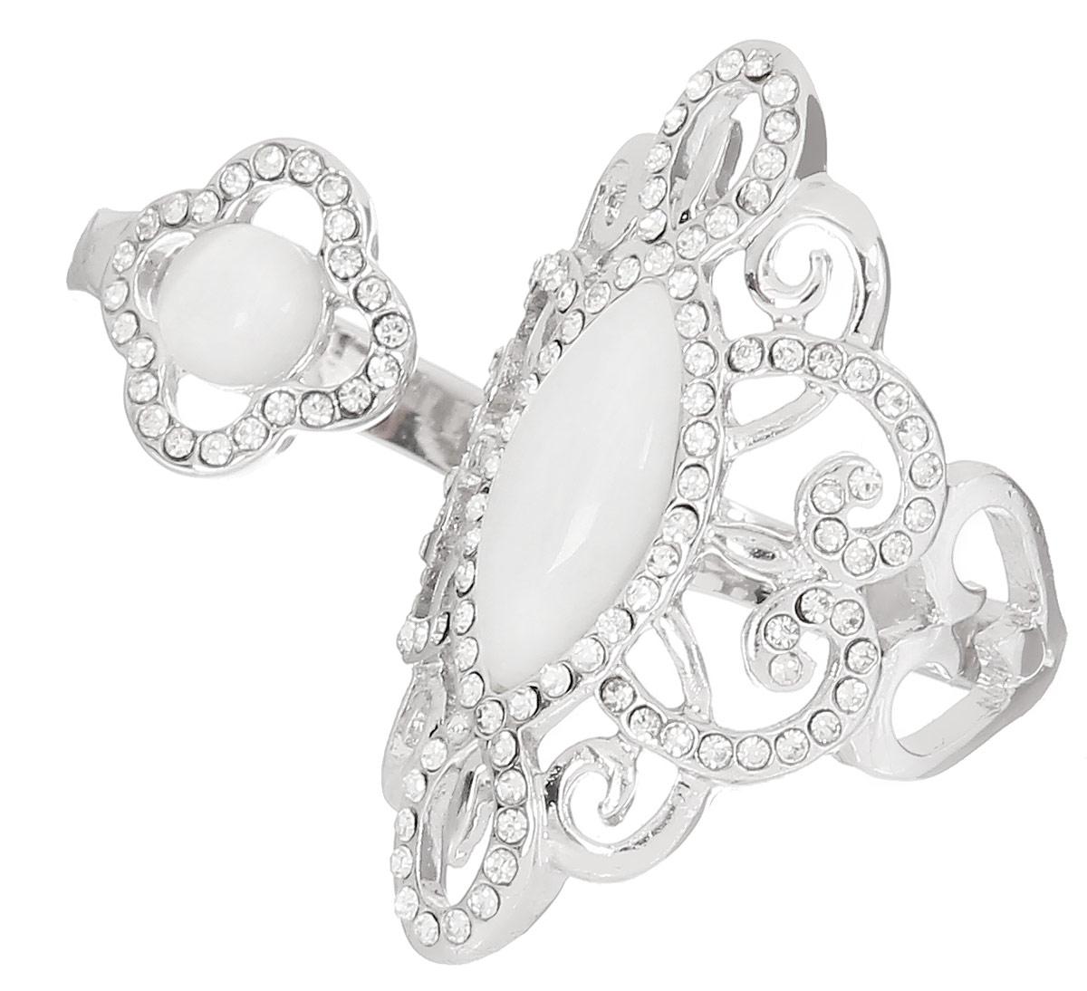 Кольцо на два пальца Art-Silver, цвет: серебристый. 069016-1319. Размер 17069016-1319Стильное кольцо на два пальца Art-Silver изготовлено из бижутерного сплава. Изделие надевается на два соседних пальца. Изделие оформлено мелкими цирконами и натуральным камнем кошачий глаз. Стильное кольцо придаст вашему образу изюминку и подчеркнет индивидуальность.
