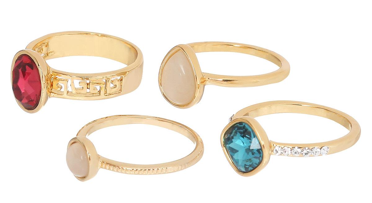Кольцо Art-Silver, цвет: золотистый, 4 шт. 066668-702-1143. Размер 17,5066668-702-1143Набор стильных колец Art-Silver изготовлен из бижутерного сплава с золотистым покрытием. В комплект входят четыре кольца, два из которых дополнены крупными цирконами, два другие - натуральными камнями кошачий глаз. Одно из колец оформлено декоративной перфорацией, другое - рельефной поверхностью, третье - мелкими цирконами. Стильные кольца придадут вашему образу изюминку и подчеркнут индивидуальность.