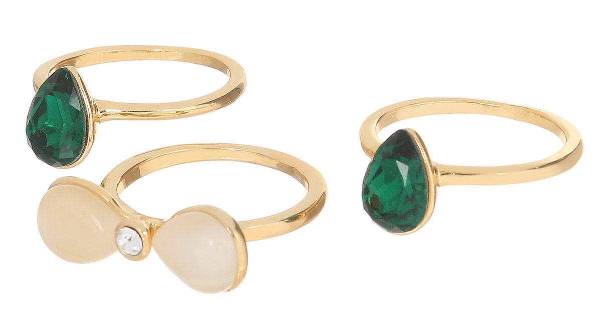 Кольцо Art-Silver, цвет: золотистый, 3 шт. 066669-803-909. Размер 17066669-803-909Набор стильных колец Art-Silver изготовлен из бижутерного сплава с золотистым покрытием. В набор входят три кольца, оформленных цирконами и натуральными камнями кошачий глаз. Стильные кольца придадут вашему образу изюминку и подчеркнут индивидуальность.