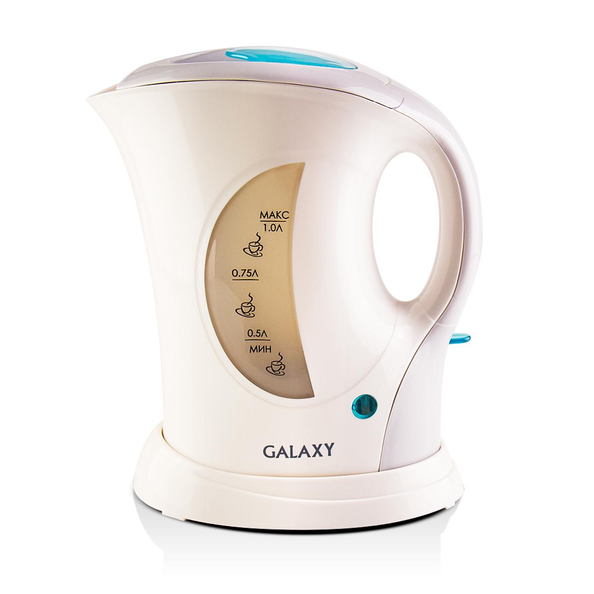 Galaxy GL 0105, White чайник электрический4630003363268Электрический чайник Galaxy GL 0105 отвечает всем современным требованиям надежности и безопасности. При его производстве используются только высококачественные и экологически безопасные материалы, а также нагревательный элемент и контроллеры высокого класса надежности. Устройство будет служить вам долгие годы, наполняя ваш быт комфортом! Galaxy GL 0105 - это мощная (900 Вт) модель объемом 1 л. С помощью этого чайника вы сможете приготовить чай на большую компанию за считанные минуты.