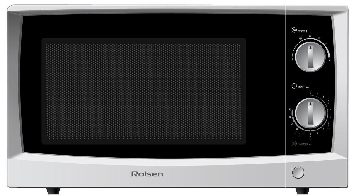 Rolsen MS1770MP, White микроволновая печьMS1770MPМикроволновая печь Rolsen MS1770MP с простым механическим управлением значительно облегчит ваши домашние хлопоты. Теперь сможете быстро и вкусно приготовить любое блюдо! СВЧ-печь обладает пятью уровнями мощности излучения, что позволит быстро воплотить в жизни ваши кулинарные фантазии. Также модель оснащена таймером на 30 минут для удобного управления. Функция быстрой разморозки продуктов значительно экономит время, благодаря чему вы сможете уделить больше времени вашим близким. Дизайн порадует вас своей свежестью и эргономичностью. Режим размораживания Потребляемая мощность: 1200 Вт Таймер: до 30 минут 5 режимов микроволнового излучения Диаметр подноса: 245 мм