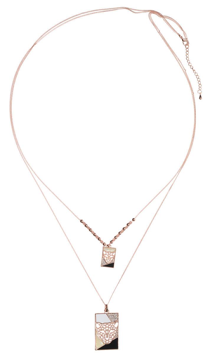 Колье Art-Silver, цвет: золотой, черный, белый. 009454-001-1138009454-001-1138Стильное колье Art-Silver выполнено из бижутерного сплава с покрытием под золото. Колье представляет собой две цепочки оригинального плетения, соединенные одним замком. Цепочки имеют разную длину и дополнены оригинальными подвесками прямоугольной формы. Подвески оформлены элементами, покрытыми эмалью, дополнены перламутром и инкрустированы кубическим цирконием. Изделие застегивается на замок-карабин с регулирующей длину цепочкой. Стильное колье станет оригинальным аксессуаром как для повседневного, так и для вечернего наряда, оно подчеркнет вашу индивидуальность и неповторимый стиль.