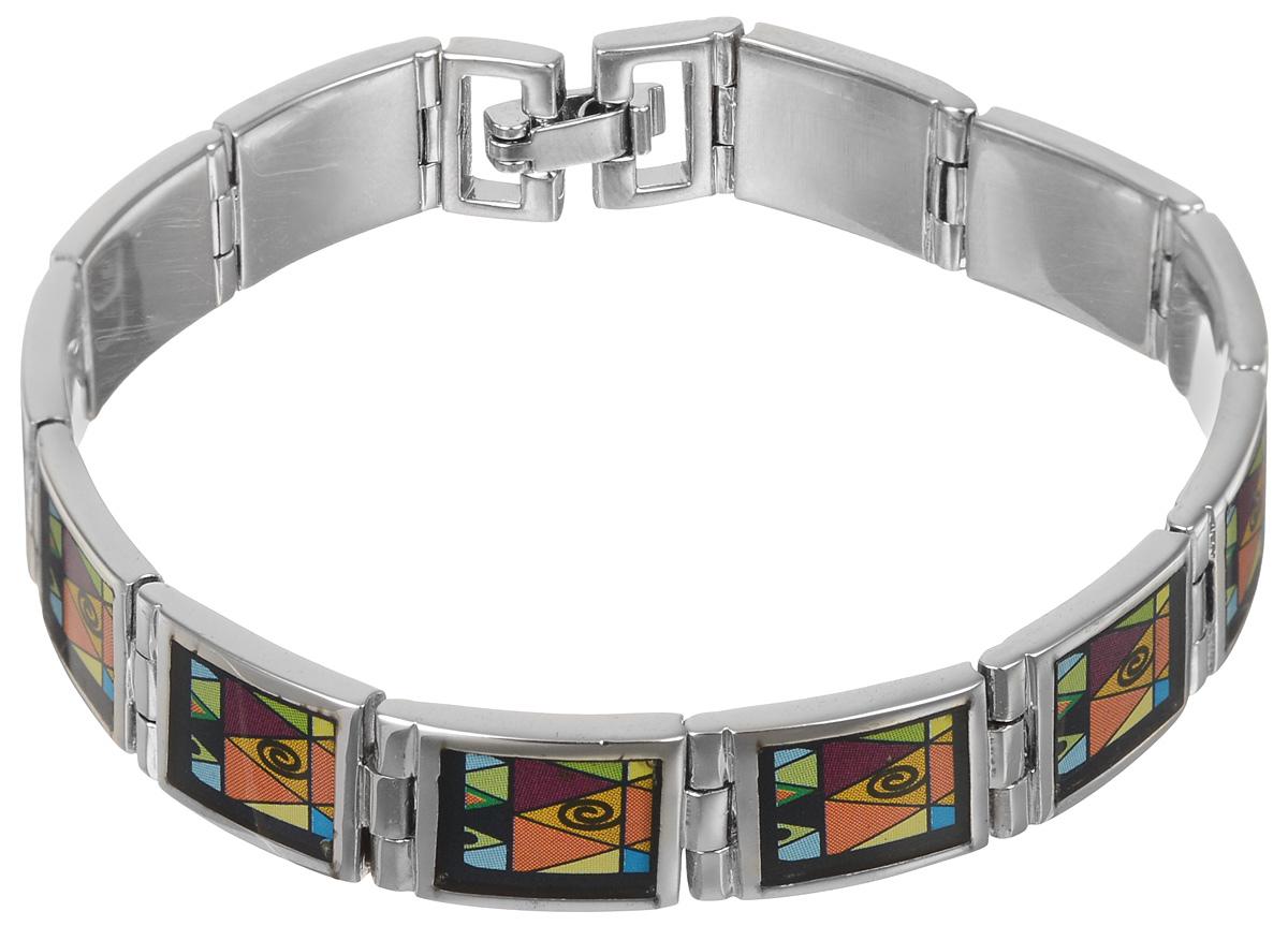 Браслет Art-Silver, цвет: серебряный, черный, оранжевый. ФБ370-490ФБ370-490Шикарный женский браслет Art-Silver выполнен из бижутерного сплава. Изделие состоит из скрепленных звеньев, покрытых эмалью и дополненных ярким принтом. Браслет застегивается при помощи замка-пряжки, благодаря которому браслет легко снимать и надевать. Это стильное украшение элегантно завершит модный образ и подчеркнет ваш утонченный вкус.