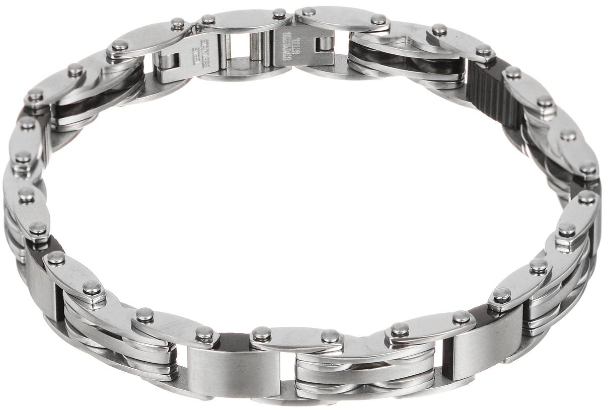 Браслет Art-Silver, цвет: серебряный. B09-954B09-954Шикарный браслет Art-Silver выполнен из бижутерного сплава. Изделие состоит из скрепленных звеньев, выполненных из стали. Каждое звено браслета с внутренней стороны дополнено элементами из керамики черного цвета. Браслет застегивается при помощи замка-пряжки, благодаря которому браслет легко снимать и надевать. Это стильное украшение элегантно завершит модный образ и подчеркнет ваш утонченный вкус.