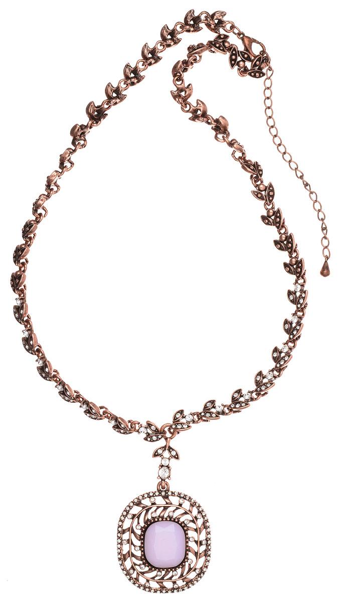 Колье Art-Silver, цвет: бронзовый, розовый. MS05359N-OC-A-1956MS05359N-OC-A-1956Стильное колье Art-Silver выполнено из бижутерного сплава с покрытием под бронзу. Колье представляет собой цепочку оригинального плетения в виде лепестков, которая украшена кубическим цирконием и дополнена массивной подвеской округлой формы. Подвеска инкрустирована кубическим цирконием и в центре дополнена вставкой из ювелирного пластика, имитирующего натуральный камень. Изделие застегивается на замок-карабин с регулирующей длину цепочкой. Стильное колье станет оригинальным аксессуаром, как для повседневного, так и для вечернего наряда, оно подчеркнет вашу индивидуальность и неповторимый стиль.