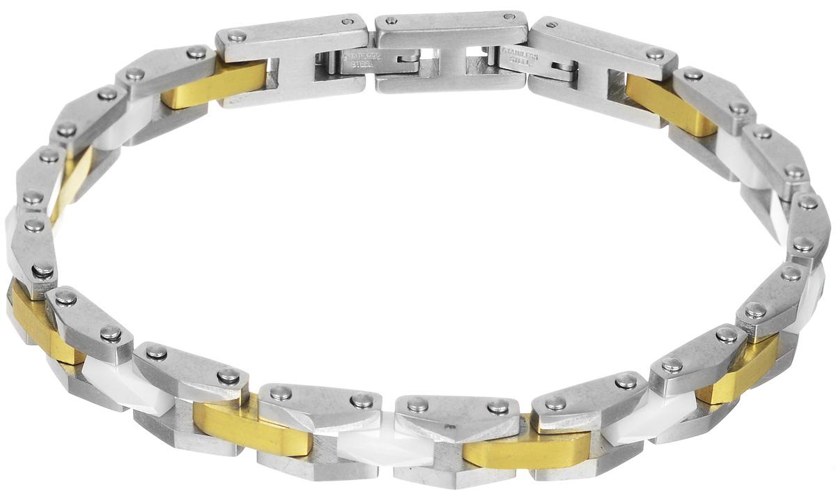 Браслет Art-Silver, цвет: серебристый, золотистый, белый. QD55-1013QD55-1013Лаконичный браслет выполнен из керамики и высококачественной стали. Браслет застегивается при помощи замка-пряжки, благодаря которой браслет легко снимать и надевать. Необычный браслет блестяще подчеркнет ваш изысканный вкус и поможет внести разнообразие в привычный образ.