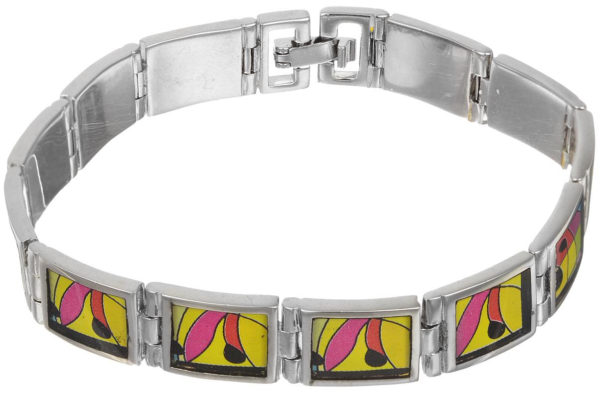 Браслет Art-Silver, цвет: серебристый, желтый, розовый. ФБ300-490ФБ300-490Шикарный женский браслет Art-Silver выполнен из бижутерного сплава. Изделие состоит из скрепленных звеньев, оформленных эмалиевым покрытием с ярким неповторимым орнаментом. Браслет застегивается при помощи застежки-пряжки, благодаря которой браслет легко снимать и надевать. Это стильное украшение элегантно завершит модный образ и подчеркнет ваш утонченный вкус.