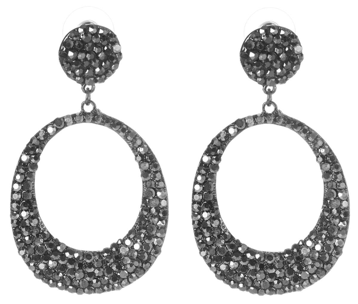 Серьги Art-Silver, цвет: черный. 29333-52029333-520Оригинальные серьги Art-Silver выполнены из бижутерного сплава, с легкостью завершат ваш образ. В качестве основы украшения использован замок-гвоздик с фиксаторами из металла и пластика. Серьги дополнены массивными ажурными подвесками в виде колец овальной формы, которые украшены цирконами. Стильные серьги придадут вашему образу изюминку, подчеркнут красоту и изящество вечернего платья или преобразят повседневный наряд.