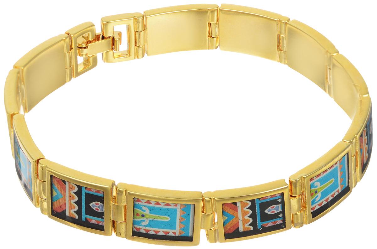 Браслет Art-Silver, цвет: золотой, мультиколор. ФБ340-1-490ФБ340-1-490Шикарный женский браслет Art-Silver выполнен из бижутерного сплава. Изделие состоит из скрепленных звеньев, оформленных эмалиевым покрытием с ярким неповторимым орнаментом. Браслет застегивается при помощи застежки-клипсы, благодаря которой браслет легко снимать и надевать. Это стильное украшение элегантно завершит модный образ и подчеркнет ваш утонченный вкус.