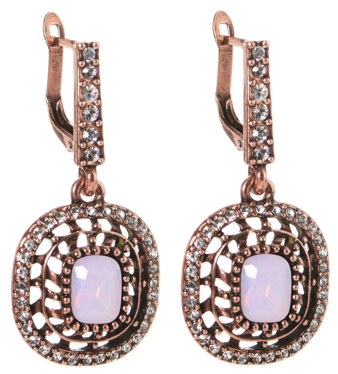 Серьги Art-Silver, цвет: бронзовый, розовый. MS05359E-OC-A-887MS05359E-OC-A-887Оригинальные серьги Art-Silver выполнены из бижутерного сплава с покрытием под бронзу, с легкостью завершат ваш образ. В качестве основы украшения использован английский замок, украшенный цирконами. Серьги дополнены оригинальными подвижными подвесками округлой формы. Изделие инкрустировано кубическим цирконием и в центре дополнено вставкой из пластика, имитирующей натуральный камень. Стильные серьги придадут вашему образу изюминку, подчеркнут красоту и изящество вечернего платья или преобразят повседневный наряд.