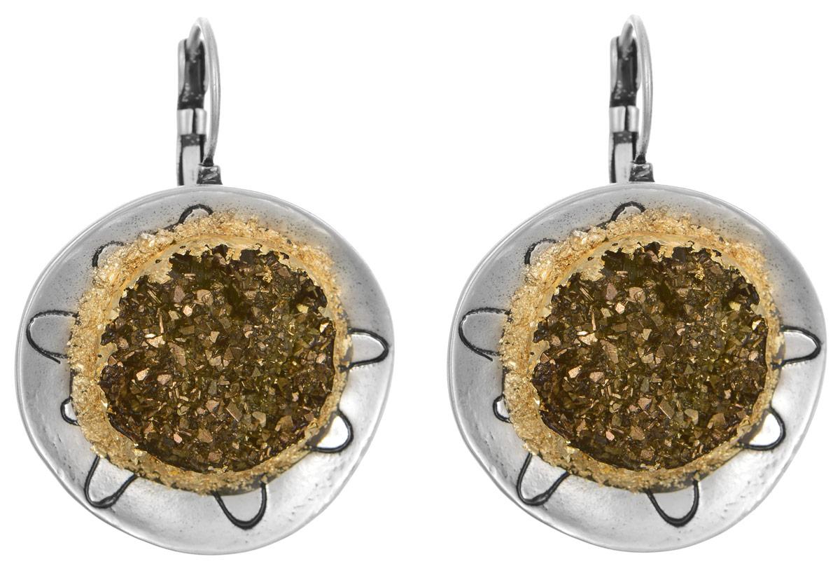 Серьги Art-Silver, цвет: серебряный, золотой. 183732-1-240183732-1-240Оригинальные серьги Art-Silver выполнены из бижутерного сплава, с легкостью завершат ваш образ. В качестве основы украшения использован замок-петля. Серьги имеют округлую плоскую форму и дополнены элементами из пластика, имитирующими натуральный камень. Стильные серьги придадут вашему образу изюминку, подчеркнут красоту и изящество вечернего платья или преобразят повседневный наряд.