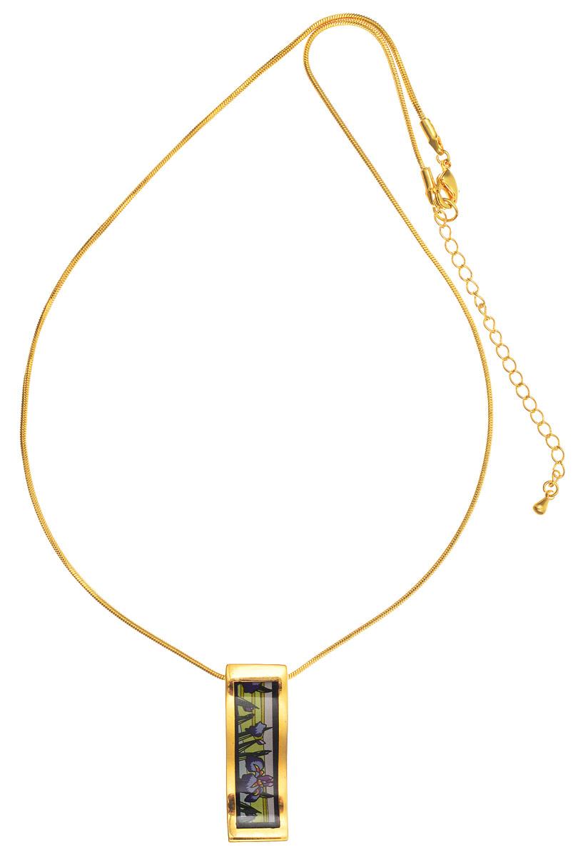 Колье Art-Silver, цвет: золотой, черный, фиолетовый. ФКЛ216-370ФКЛ216-370Стильное колье Art-Silver выполнено из бижутерного сплава с покрытием под золото. Колье представляет собой цепочку оригинального плетения, которая дополнена изящной подвеской. Подвеска оформлена оригинальным принтом и покрыта эмалью. Изделие застегивается на замок-карабин с регулирующей длину цепочкой. Стильное колье станет оригинальным аксессуаром, как для повседневного, так и для вечернего наряда, оно подчеркнет вашу индивидуальность и неповторимый стиль.