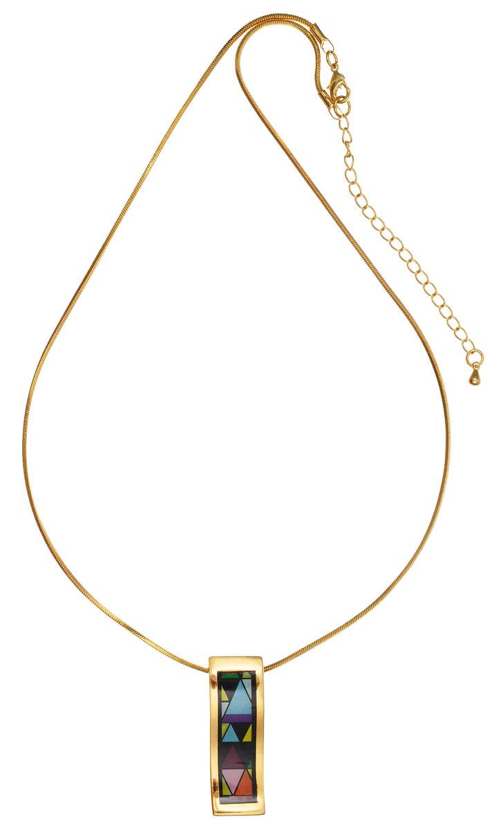 Колье Art-Silver, цвет: золотой, черный, голубой. ФКЛ211-370ФКЛ211-370Стильное колье Art-Silver выполнено из бижутерного сплава с покрытием под золото. Колье представляет собой цепочку оригинального плетения, которая дополнена изящной подвеской. Подвеска оформлена оригинальным принтом и покрыта эмалью. Изделие застегивается на замок-карабин с регулирующей длину цепочкой. Стильное колье станет оригинальным аксессуаром, как для повседневного, так и для вечернего наряда, оно подчеркнет вашу индивидуальность и неповторимый стиль.