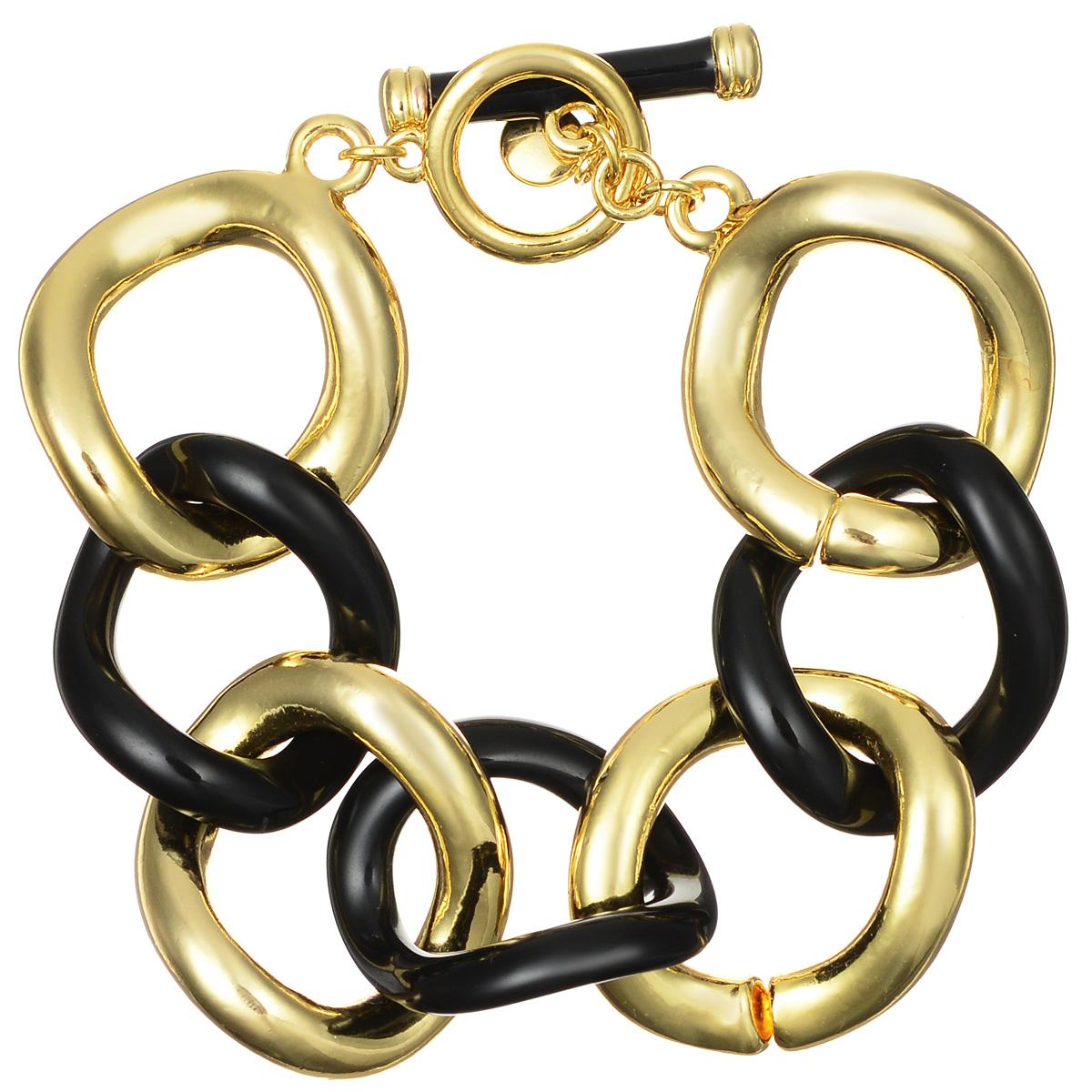 Браслет Art-Silver, цвет: золотистый, черный. 2500-21202500-2120Лаконичный женский браслет выполнен в виде переплетенных звеньев из бижутерного сплава с покрытием из эмали. Браслет застегивается при помощи замка-тогл, благодаря которой браслет легко снимать и надевать. Необычный браслет блестяще подчеркнет ваш изысканный вкус и поможет внести разнообразие в привычный образ.