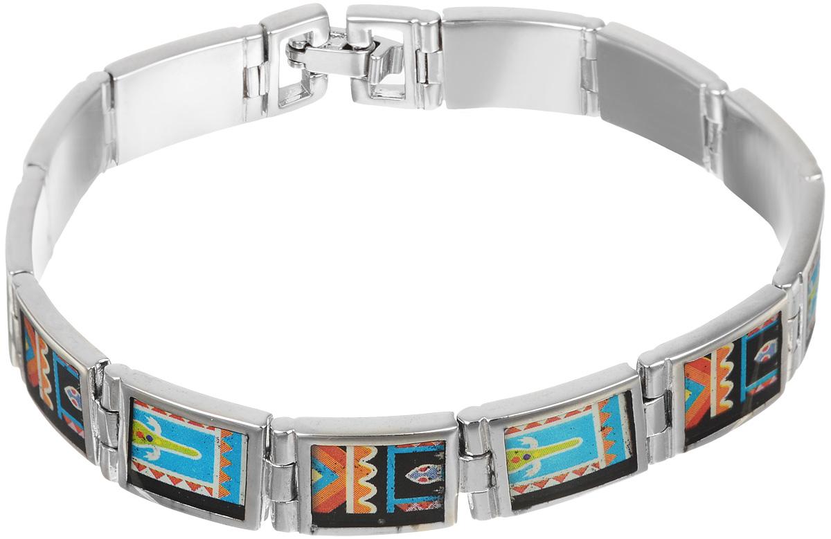 Браслет Art-Silver, цвет: серебряный, мультиколор. ФБ340-490ФБ340-490Шикарный женский браслет Art-Silver выполнен из бижутерного сплава. Изделие состоит из скрепленных звеньев, оформленных эмалиевым покрытием с ярким неповторимым орнаментом. Браслет застегивается при помощи застежки-клипсы, благодаря которой браслет легко снимать и надевать. Это стильное украшение элегантно завершит модный образ и подчеркнет ваш утонченный вкус.