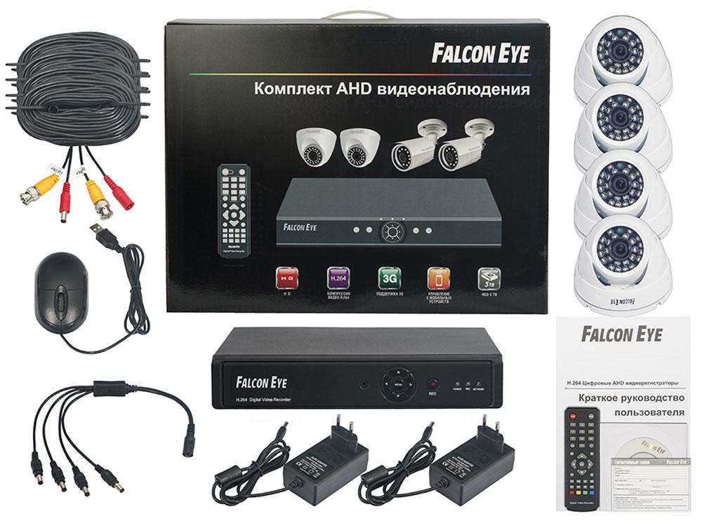 Falcon Eye FE-104AHD Kit Дом комплект видеонаблюденияFE-104AHD-KIT ДOMFalcon Eye FE-104AHD Kit Дом - современный комплект видеонаблюдения, представляющий собой набор высококачественного оборудования для самостоятельного построения системы видеонаблюдения. Развернуть и настроить систему сможет даже не обладающий специальными знаниями человек. Технические характеристики комплекта, надежность и функциональность удовлетворяют самым строгим критериям оценки систем безопасности для дома офиса и дачи. Камеры с разрешением 700 ТВЛ позволят записать сигнал с четкостью, достаточной для детального просмотра, а также для того, чтобы при необходимости использовать видеозапись, как доказательство противоправного действия. В видеорегистраторе воплощены все самые передовые технологии для систем видеонаблюдения: разрешение сигнала VGA/HDMI 1080p, возможность удаленного просмотра видео при помощи облачной технологии P2P на мобильных устройствах различных платформ. Резервное копирование: USB HDD, USB DVD-RW Скорость записи при...