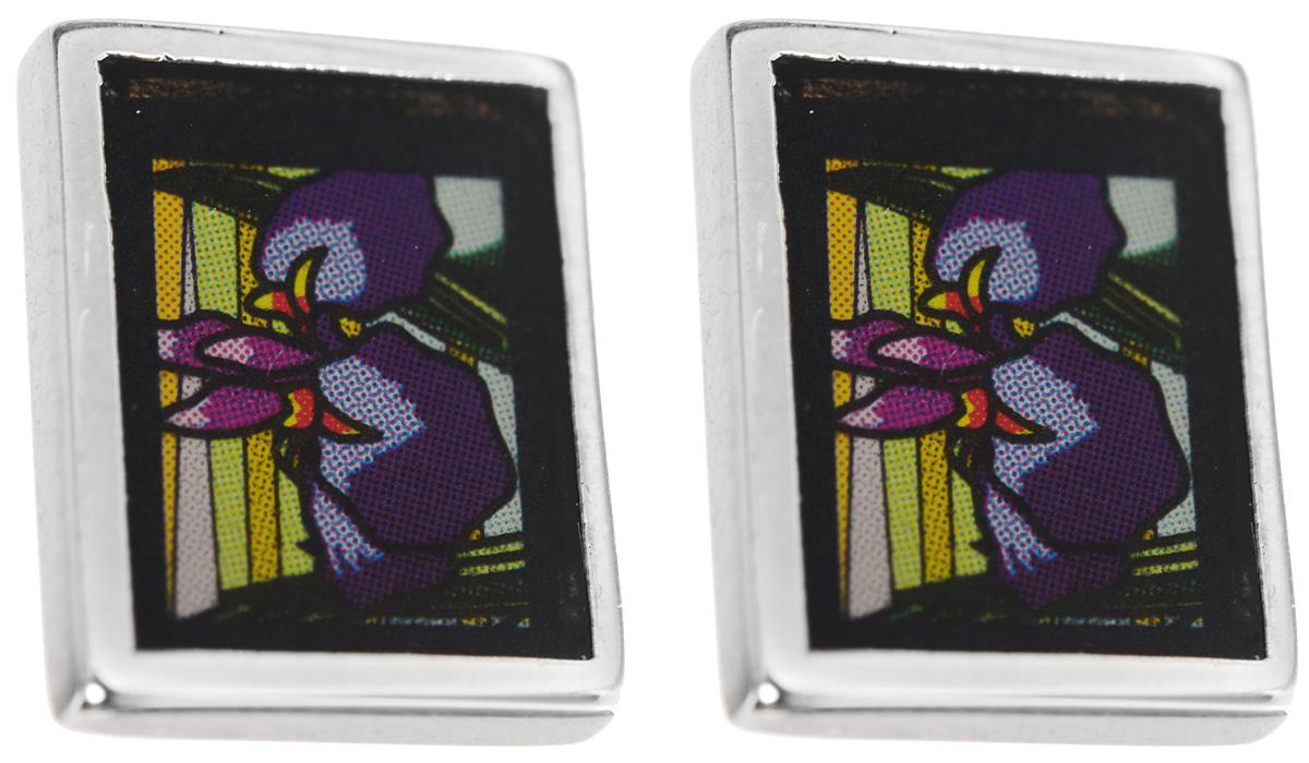 Серьги Art-Silver, цвет: серебряный, черный, фиолетовый. ФСм203-1-420ФСм203-1-420Оригинальные серьги Art-Silver выполнены из бижутерного сплава. В качестве основы украшения использован замок-гвоздик с фиксатором из металла. Серьги дополнены оригинальным принтом и покрыты эмалью. Стильные серьги придадут вашему образу изюминку, подчеркнут красоту и изящество вечернего платья или преобразят повседневный наряд.