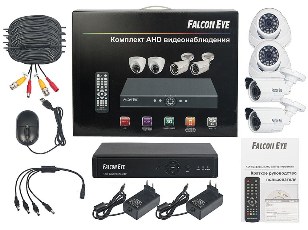 Falcon Eye FE-104AHD Kit Офис комплект видеонаблюденияFE-104AHD-KIT ОФИСFalcon Eye FE-104AHD Kit Офис - современный комплект видеонаблюдения, представляющий собой набор высококачественного оборудования для самостоятельного построения системы видеонаблюдения. Развернуть и настроить систему сможет даже не обладающий специальными знаниями человек. Технические характеристики комплекта, надежность и функциональность удовлетворяют самым строгим критериям оценки систем безопасности для дома офиса и дачи. Камеры двух типов с разрешением 700 ТВЛ и 1 Мпикс (сенсор Aptina AR0141) позволют записать сигнал с четкостью, достаточной для детального просмотра, а также для того, чтобы при необходимости использовать видеозапись, как доказательство противоправного действия. В видеорегистраторе воплощены все самые передовые технологии для систем видеонаблюдения: разрешение сигнала VGA/HDMI 1080p, возможность удаленного просмотра видео при помощи облачной технологии P2P на мобильных устройствах различных платформ. ...