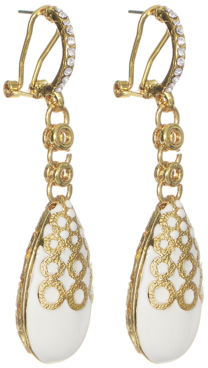 Серьги Art-Silver, цвет: золотой, белый. 015062-608015062-608Оригинальные серьги Art-Silver выполнены из бижутерного сплава с покрытием под золото, с легкостью завершат ваш образ. В качестве основы украшения использован итальянский замок, украшенный кубическим цирконием. Серьги дополнены объемными, подвижными подвесками в форме капли. Подвески покрыты белой эмалью и дополнены ажурным рисунком золотистого цвета. Стильные серьги придадут вашему образу изюминку, подчеркнут красоту и изящество вечернего платья или преобразят повседневный наряд.