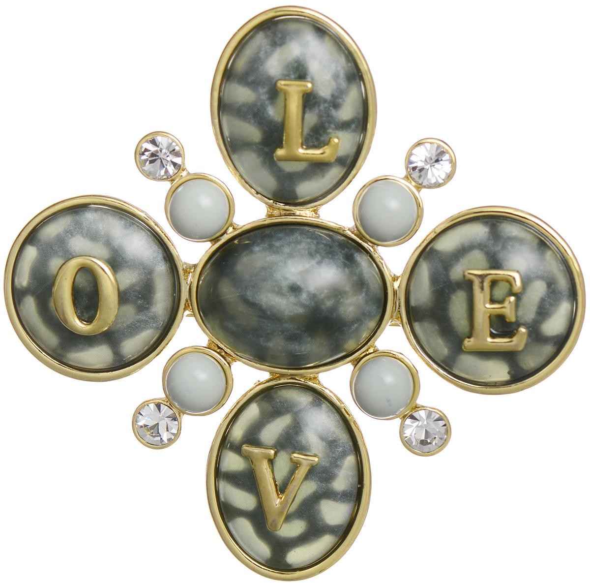 Брошь Art-Silver, цвет: золотистый, серый. MH05874-G-C-814MH05874-G-C-814Эффектная брошь Art-Silver, выполнена в оригинальном стиле с надписью Love из бижутерного сплава и оформлена камнями и стразами. Брошь крепится с помощью иголки с замочком. Такая брошь позволит вам с легкостью воплотить самую смелую фантазию и создать собственный, неповторимый образ.
