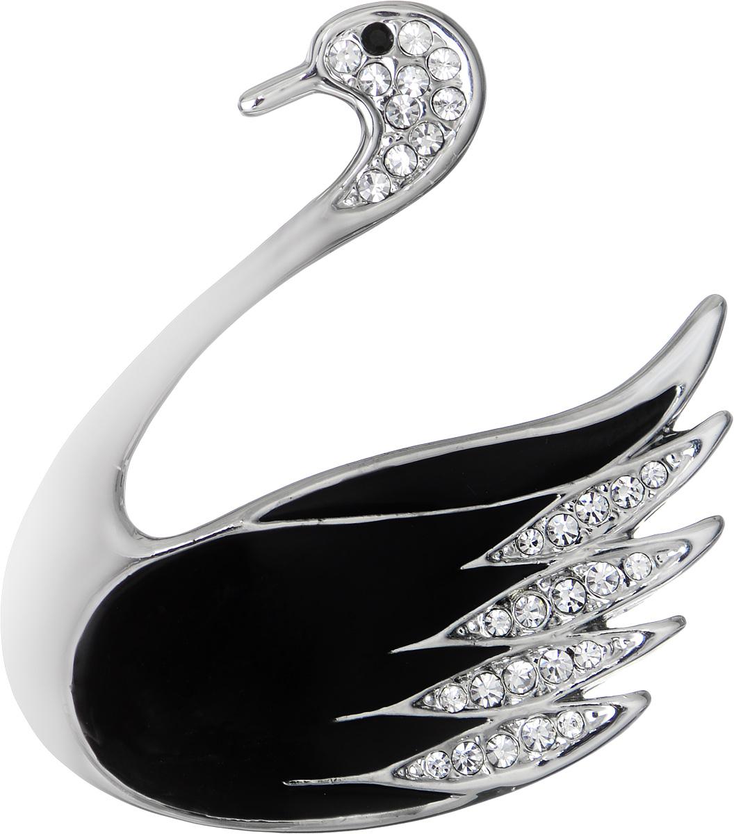 Брошь Fashion House, цвет: серебряный, черный. FH25193FH25193Эффектная брошь Fashion House, выполнена в виде лебедя с покрытием из эмали, оформленного стразами. Брошь крепится с помощью булавки с замочком. Такая брошь позволит вам с легкостью воплотить самую смелую фантазию и создать собственный, неповторимый образ.