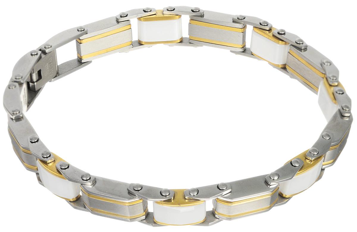 Браслет Art-Silver, цвет: серебряный, золотой, белый. B65-942B65-942Лаконичный женский браслет выполнен из бижутерного сплава, керамики и стали. Браслет застегивается при помощи застежки-клипсы, благодаря которой браслет легко снимать и надевать. Необычный браслет блестяще подчеркнет ваш изысканный вкус и поможет внести разнообразие в привычный образ.