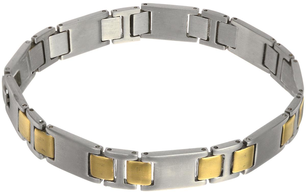 Браслет Art-Silver, цвет: серебристый, золотистый. 01033-61001033-610Лаконичный браслет выполнен из бижутерного сплава и стали. Браслет застегивается при помощи замка-пряжки, благодаря которой браслет легко снимать и надевать. Необычный браслет блестяще подчеркнет ваш изысканный вкус и поможет внести разнообразие в привычный образ.