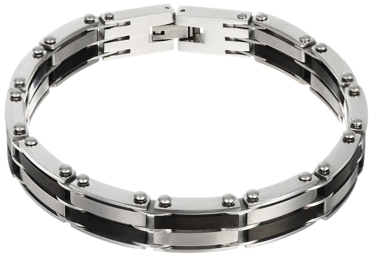 Браслет Art-Silver, цвет: серебряный, черный. B16-918B16-918Шикарный браслет Art-Silver выполнен из бижутерного сплава. Изделие состоит из скрепленных звеньев, выполненных из стали и керамики черного цвета. Браслет застегивается при помощи замка-пряжки, благодаря которому браслет легко снимать и надевать. Это стильное украшение элегантно завершит модный образ и подчеркнет ваш утонченный вкус.