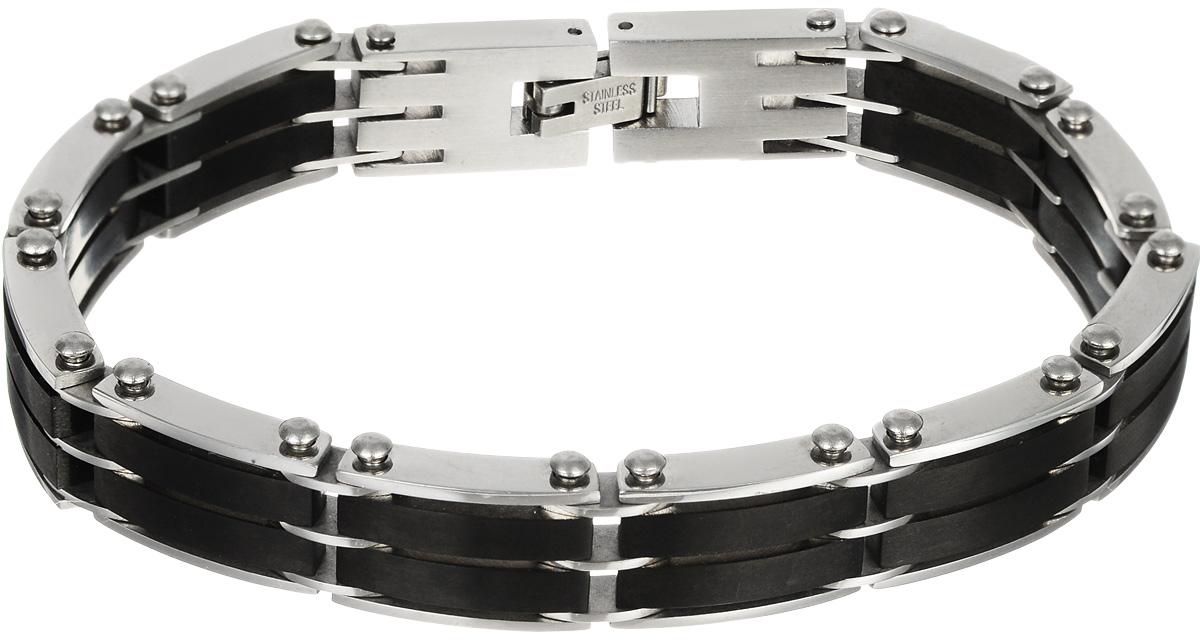 Браслет Art-Silver, цвет: серебряный, черный. B162-774B162-774Шикарный браслет Art-Silver выполнен из бижутерного сплава. Изделие состоит из скрепленных звеньев, выполненных из стали и керамики черного цвета. Браслет застегивается при помощи замка-пряжки, благодаря которому браслет легко снимать и надевать. Это стильное украшение элегантно завершит модный образ и подчеркнет ваш утонченный вкус.