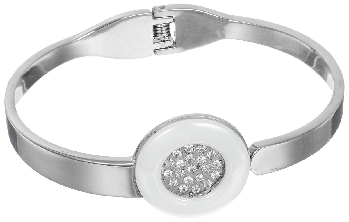Браслет Art-Silver, цвет: серебристый, белый. КБ207-1026КБ207-1026Шикарный женский браслет Art-Silver состоит из металлической основы, дополненной декоративным элементом в виде часов с керамическим покрытием и оформленным стразами из кубического циркона. Браслет на пружинке, что позволяет идеально зафиксировать модель на руке. Это стильное украшение элегантно завершит модный образ и подчеркнет ваш утонченный вкус.