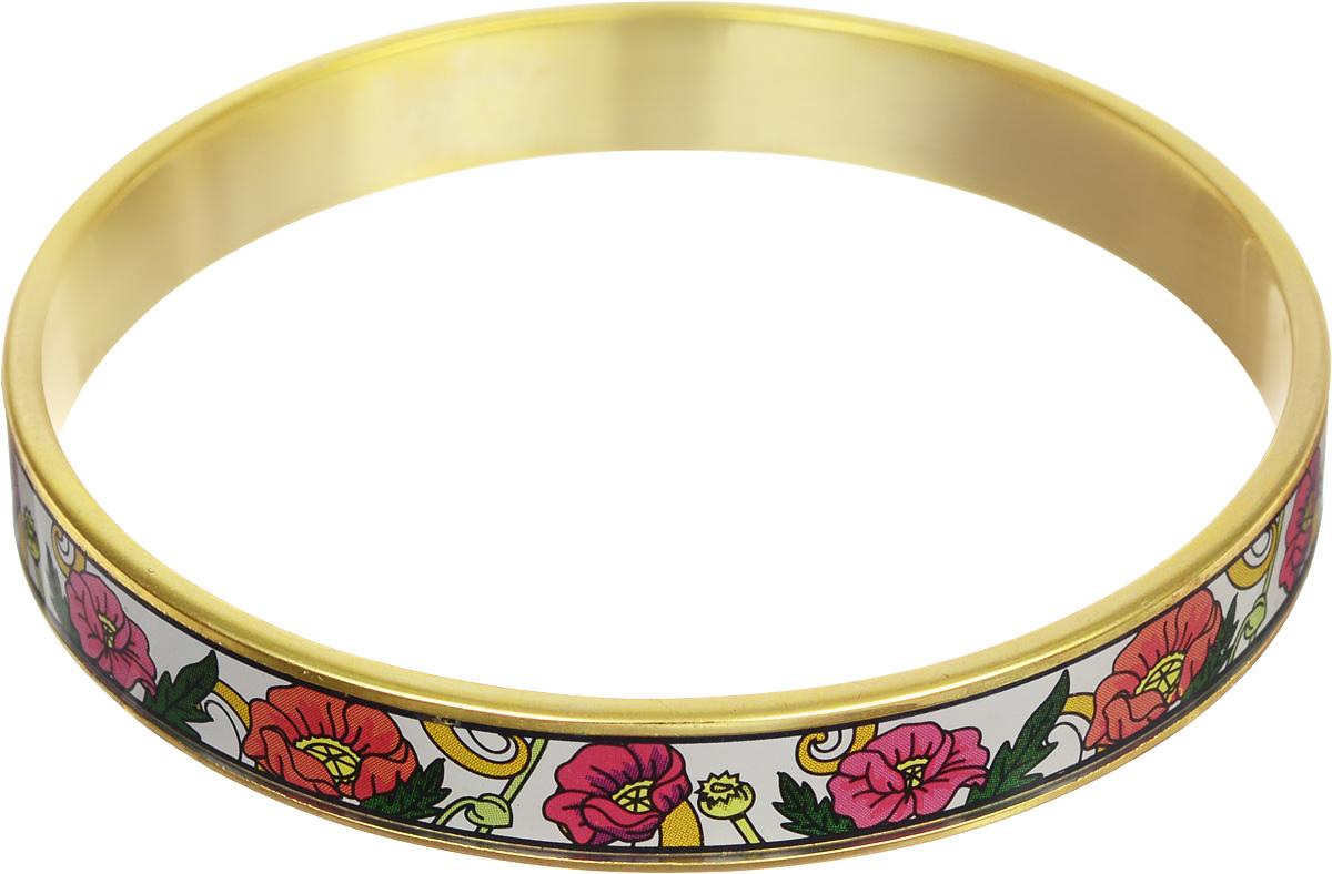 Браслет Art-Silver, цвет: золотой, мультиколор. ФБм129-320ФБм129-320Браслет Art-Silver изготовлен из бижутерного сплава. Изделие на лицевой стороне покрыто эмалью с ярким неповторимым орнаментом. Красивое и необычное украшение блестяще подчеркнет изысканный вкус, женственность и красоту своей обладательницы и поможет внести разнообразие в привычный образ.