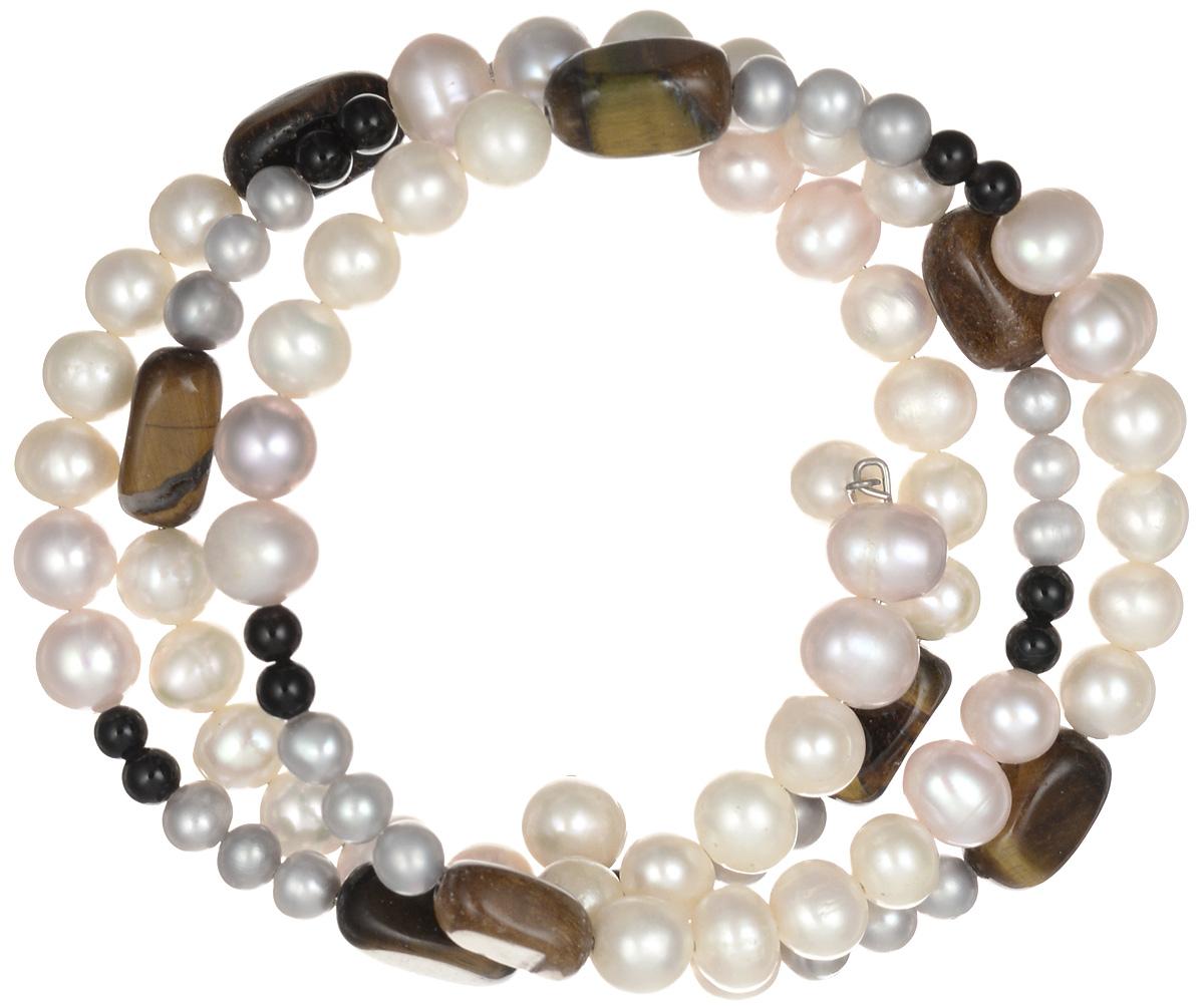 Браслет Art-Silver, цвет: перламутровый, коричневый. B0602-1-338B0602-1-338Эффектный женский браслет Art-Silver изготовлен из бижутерного сплава. На металлический каркас браслета нанизаны бусины из жемчуга различных размеров, дополненных камнями из тигрового глаза. Этот необычный и стильный браслет отлично разбавит ваш повседневный образ, добавит в него изюминку. С помощью него вы сможете подчеркнуть свою индивидуальность и выделиться среди окружающих.