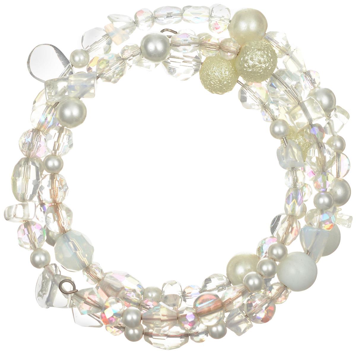 Браслет Art-Silver, цвет: перламутровый, белый. ТВ36-230ТВ36-230Эффектный женский браслет Art-Silver изготовлен из бижутерного сплава. На металлический каркас браслета нанизаны бусины из майорики различных размеров, дополненных кристаллами. Этот необычный и стильный браслет отлично разбавит ваш повседневный образ, добавит в него изюминку. С помощью него вы сможете подчеркнуть свою индивидуальность и выделиться среди окружающих.