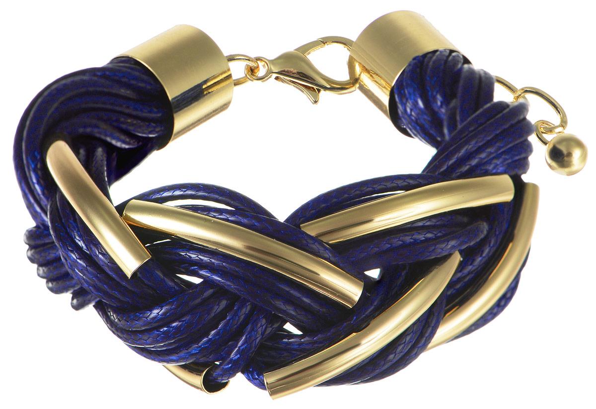 Браслет Art-Silver, цвет: золотистый, синий. 141114-18Blue-473141114-18Blue-473Шикарный женский браслет Art-Silver из высококачественного бижутерного сплава и текстиля выполнен в виде переплетенной косички. Браслет на застежке карабине, что позволяет идеально зафиксировать модель на руке. Это стильное украшение элегантно завершит модный образ и подчеркнет ваш утонченный вкус.