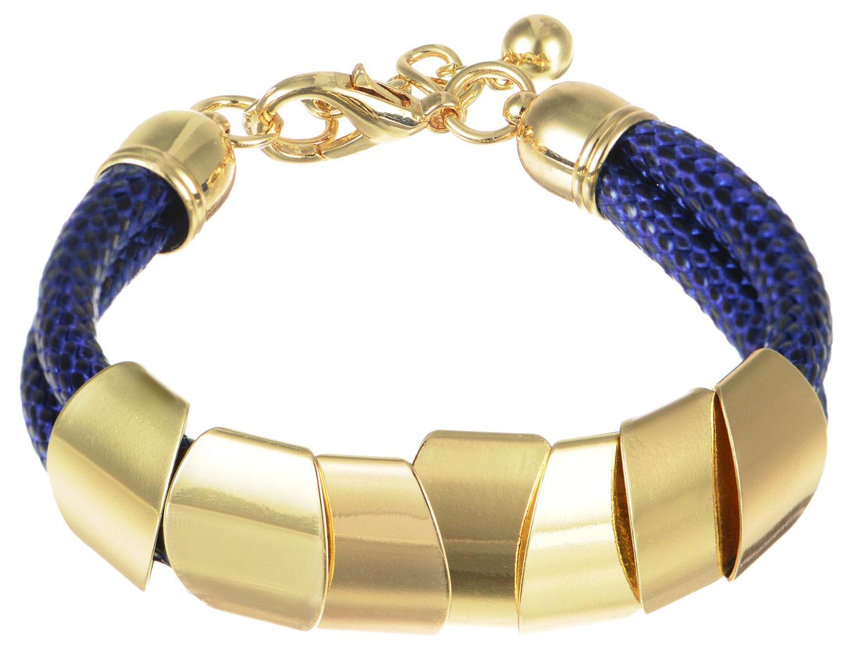 Браслет Art-Silver, цвет: синий, золотистый. 141114-9Blue-378141114-9Blue-378Стильный браслет Art-Silver выполнен двойным текстильным ремешком с оригинальными декоративными элементами из бижутерного сплава. Браслет имеет надежную застежку-карабин с регулирующей длину цепочкой. Браслет - это модный стильный аксессуар, призванный подчеркнуть индивидуальность и очарование его обладательницы.