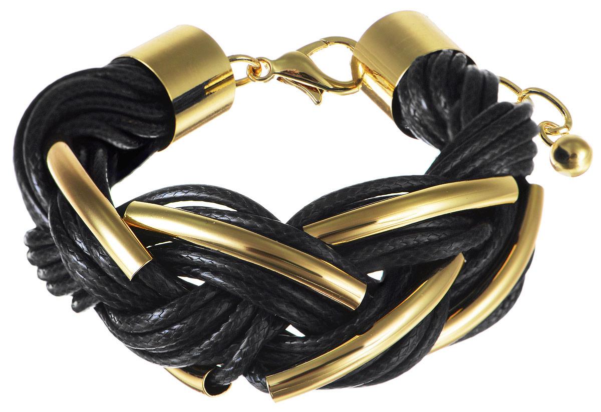 Браслет Art-Silver, цвет: золотистый, черный. 141114-18Black-473141114-18Black-473Лаконичный женский браслет выполнен из бижутерного сплава и текстиля. Браслет застегивается при помощи застежки-карабина, благодаря которой браслет легко снимать и надевать. Необычный браслет блестяще подчеркнет ваш изысканный вкус и поможет внести разнообразие в привычный образ.