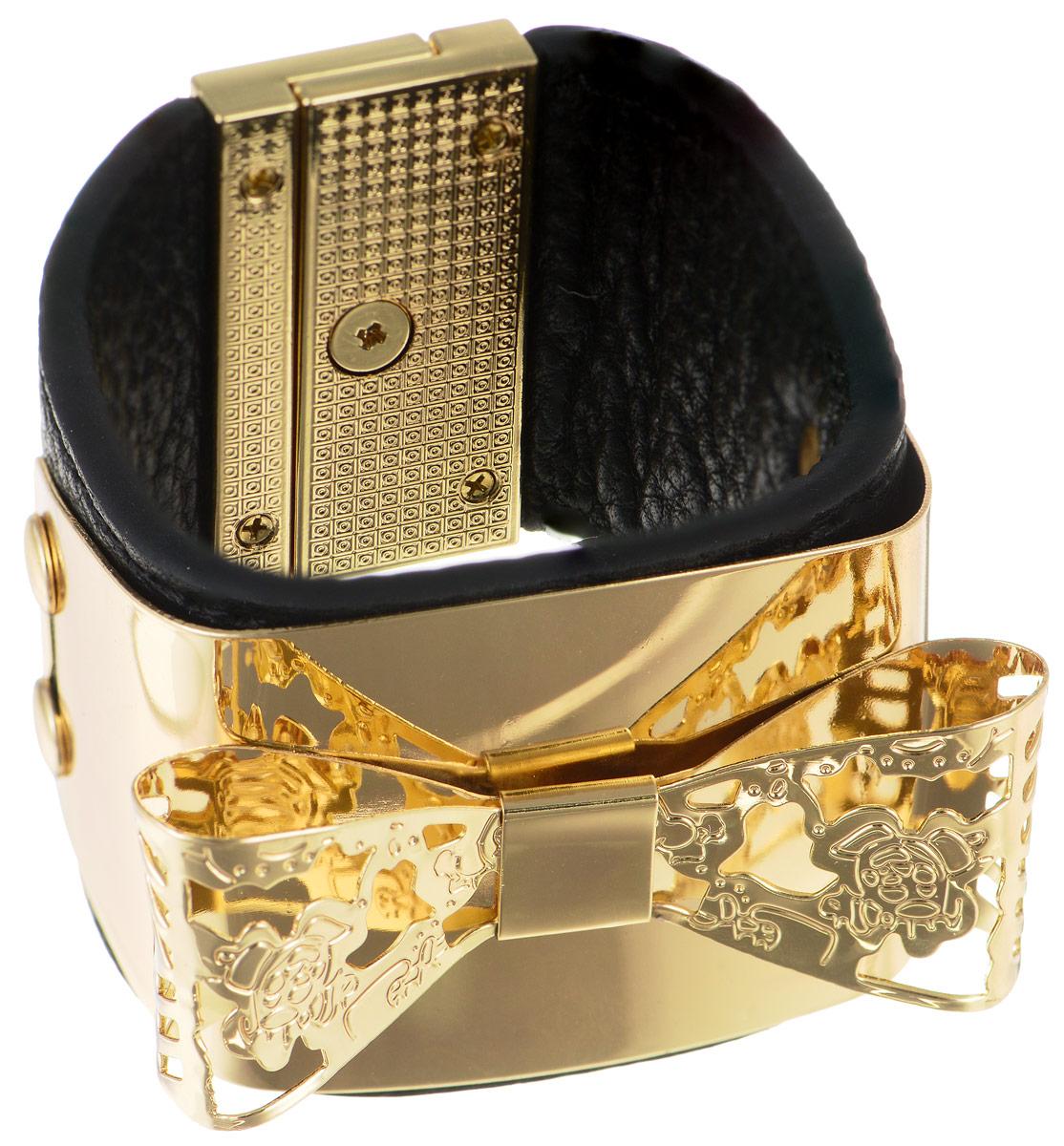 Браслет Art-Silver, цвет: золотистый, черный. ЧР15-850ЧР15-850Стильный браслет Art-Silver выполнен из натуральной кожи и оформлен декоративным металлическим элементом в виде банта. Модель на замке-вертушке, который позволит идеально зафиксировать браслет на руке. Браслет - это модный стильный аксессуар, призванный подчеркнуть индивидуальность и очарование его обладательницы.