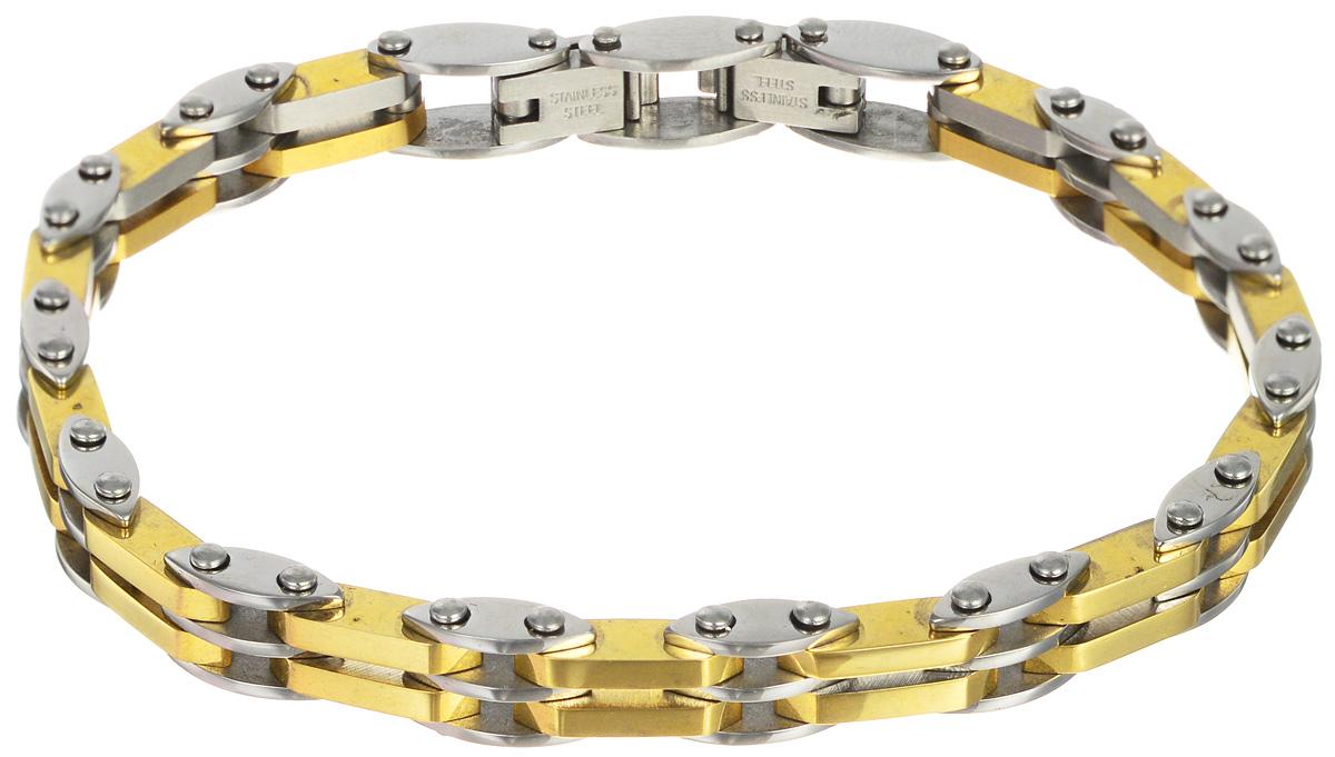 Браслет Art-Silver, цвет: серебряный, золотой. B31-918B31-918Шикарный браслет Art-Silver выполнен из бижутерного сплава. Изделие состоит из скрепленных звеньев, выполненных из стали с покрытием под золото и серебро. Браслет застегивается при помощи двухстороннего замка-пряжки, благодаря которому браслет легко снимать и надевать. Это стильное украшение элегантно завершит модный образ и подчеркнет ваш утонченный вкус.
