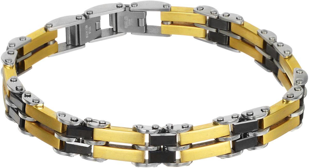 Браслет Art-Silver, цвет: серебристый, золотистый, черный. QD346-1148QD346-1148Лаконичный браслет выполнен из керамики и высококачественной стали. Браслет застегивается при помощи замка-пряжки, благодаря которой браслет легко снимать и надевать. Необычный браслет блестяще подчеркнет ваш изысканный вкус и поможет внести разнообразие в привычный образ.