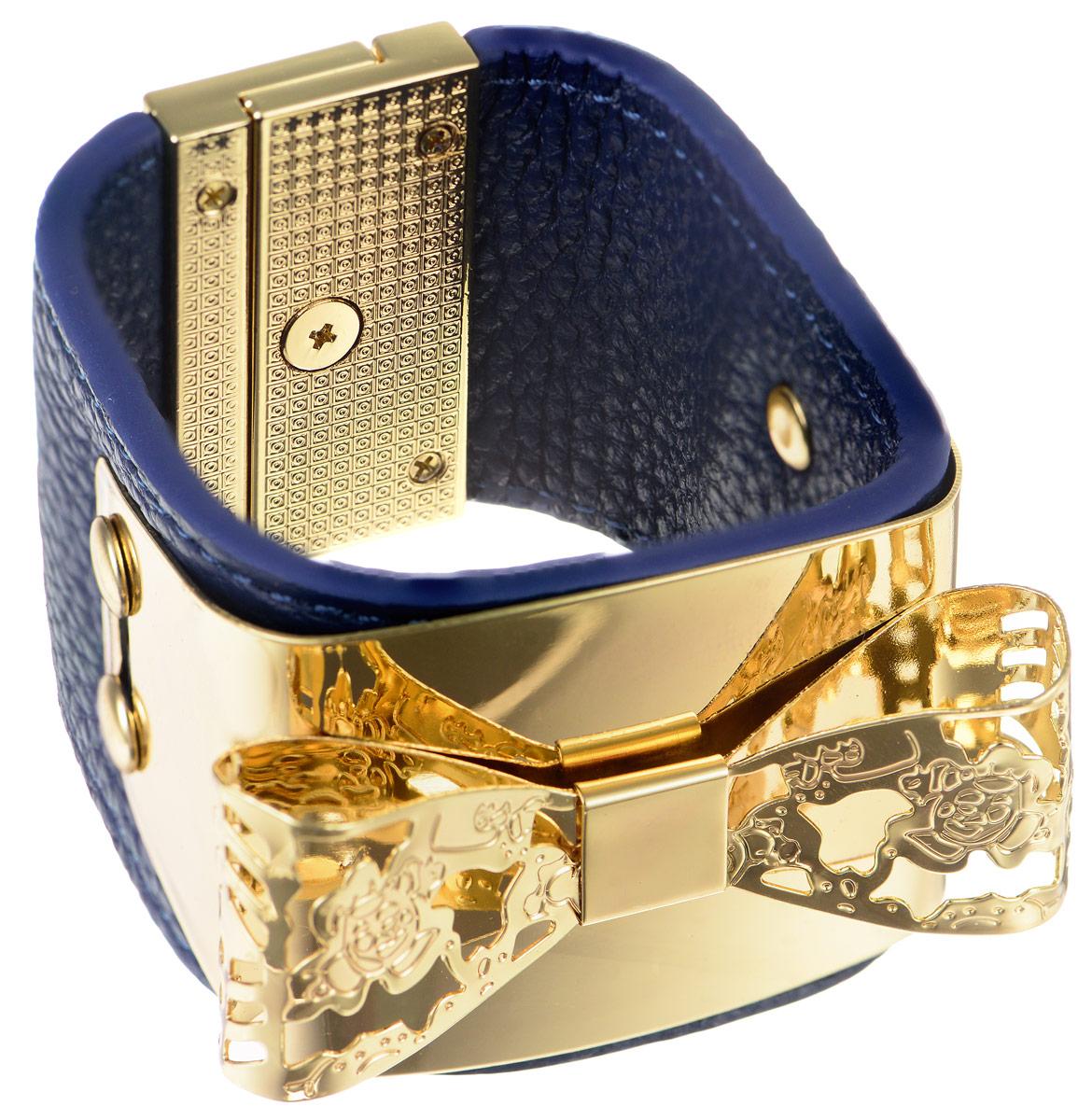 Браслет Art-Silver, цвет: золотистый, синий. СН15-850СН15-850Стильный браслет Art-Silver выполнен из натуральной кожи и оформлен декоративным металлическим элементом в виде банта. Модель на замке-вертушке, который позволит идеально зафиксировать браслет на руке. Браслет - это модный стильный аксессуар, призванный подчеркнуть индивидуальность и очарование его обладательницы.